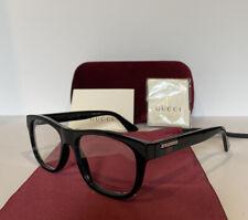 NEW GUCCI Mens GG0768O 001 Black Eyeglasses Optical Frames W Case & Web Stripe