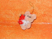Vintage Christmas Tree Ornament Pom Pom Balls Tan Teddy Bear Plush 2 1/4""
