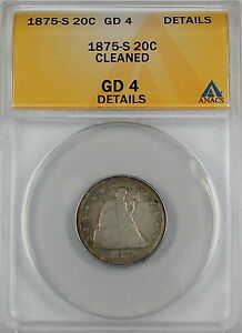 1875-S Seated Liberty 20 Cent Piece, ANACS G-4 Details - Cleaned, Lightly Toned
