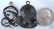 Vintage Catholic Medal ST. ANTHONY Jesus PEWTER METAL