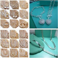 New 2PCS wholesale Jewelry Silver Ladies Silver Sets Earrings & Necklace S925