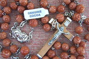 Catholic Rosary GENUINE COCOA Wood LT BROWN 6mm Carved beads NOS Made in Italy
