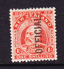 NEW ZEALAND 1909 1/-  KEVII OFFICAL MLH  SG O77