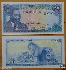 KENYA 20 Shillings Paper Money 1978 UNC