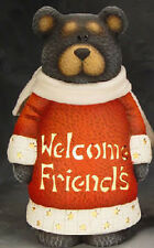 "Ceramic Bisque Ready to Paint ""WELCOME FRIENDS Black Bear w/Light Kit"