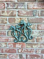 Seahorse Turquoise Metal Seaside Wall Sculpture Coastal Beach Nautical Decor