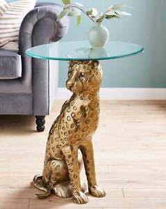 Leopard Base Glass Top Side End Coffee Table Design Living Bed Room Home Décor
