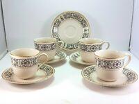 Mikasa Riviera 205 Tea Coffee Cup and Saucer Set of 4 Ivory Black Scrolls