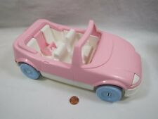 PLAYSKOOL Dollhouse PINK CONVERTIBLE CAR VEHICLE w/ BUILT IN CAR SEAT Excellent!