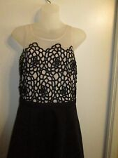 bebe M Dress Black Nude Mesh Floral Lace Embroidered Fit Flare Cocktail Party