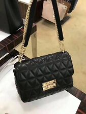 20bfc673b921 MICHAEL KORS 100% Authentic Quilted Black SLOAN Lamb Leather Crossbody Bag  BNWT