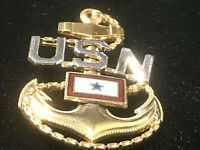 US NAVY STERLING SILVER GOLD PLATED ENAMEL SON IN SERVICE ANCHOR PIN BADGE