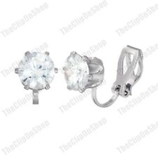 CLIP ON 8mm CZ EARRINGS cubic zirconia SILVER PLATED round brilliant cut crystal