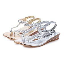 Women's Summer Clip Toe Rhinestone Slippers Flip Flops Flat Sandals Thong Shoes