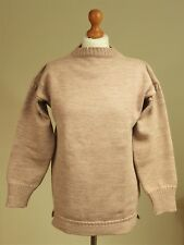 """Traditional Guernsey Jumper 100% Wool Fisherman Camel Size 38"""" 96cm Mens Womens"""