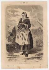 Sylt-Tracht-Trachten kol. Holzstich aus Baudissin 1865
