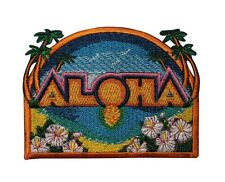 Aloha Hawaii Tropical Scene Embroidered Iron On Badge Applique Patch P3786