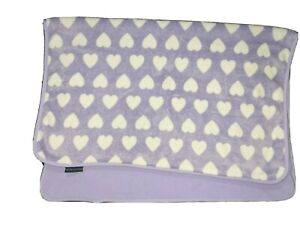 NorthPoint Baby Girl Purple Fleece White Heart Blanket SOFT 2ply 30x40 Lovey