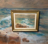 Seestück mit Brandung. Stilvolles Pastell Gemälde signiert und gerahmt.