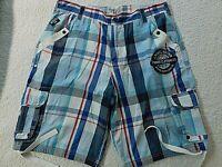 Parish Nation Mens 38 Blue Plaid Cargo Hip Hop Style Shorts Extra Long (c9002)