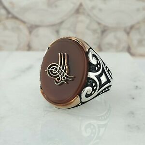 Solid 925 Sterling Silver Mens Ring Red Agate Gemstone Handmade Turkish Style
