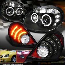 2003 2004 2005 Dodge Neon Dual Halo Projector Headlights W/ LED Tail Light Black