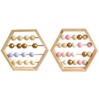 Nordic Natural Wooden Abacus with Beads Craft Baby Early Learning Education X8Q2