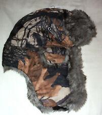 Brown Fall Leaf Camo Aviator Bomber Lined Winter Trooper Trapper Winter Hat Cap