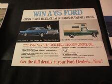 Original 1965 Win a Ford Brochure Galaxie or F-250 w/Camper Bodies
