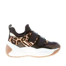 MICHAEL KORS women shoes Black leather fabric Keeley Trainer sneaker animalier