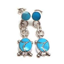 Zuni Handmade Sterling Silver Turquoise Turtle Post Earrings -Vernon Waikaniwa