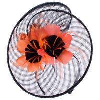 Black Women Sinamay Flower Kentucky Derby Fascinator Party Feather Hat T320
