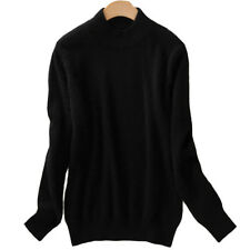 Women's Slim Sweater Knitted Half-Turtleneck Soft Cashmere wool Jumper Pullover