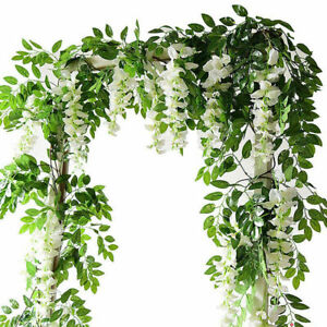 2X Artificial Wisteria flower vine fake flowers ivy plant garland green leaves