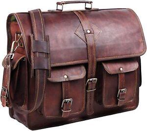 Rustic Vintage Genuine Goat Leather Messenger Laptop Briefcase Cross Body Bag