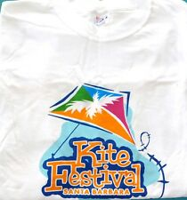 New Mens XLARGE White Santa Barbara Kite Festival T Tee Shirt Heavyweight Cotton