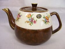 VINTAGE ARTHUR WOOD TEAPOT,GOLD TRIM,CHOCOLATE BROWN MOTTLED,WHITE,FLORAL DAISY