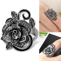 Art deco Vintage black Crystal Marcasite ring Rose Flower Cocktail Rings S ov