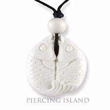 MAORI Design Amulett Anhänger Bone Knochen Handarbeit Fische Design PB361