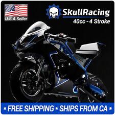 SkullRacing Gas Powered Mini Pocket Bike Motorcycle 40RR (Blue)