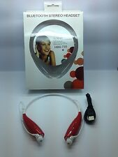 LOT OF 3 NEW BLUETOOTH STEREO HEADSET HANDSFREE AROUND THE NECK UNIVERSAL RED