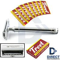 Luxury Men Shaving Safety Razor Clean-Shave Shaver Double Edge Grooming + Blades