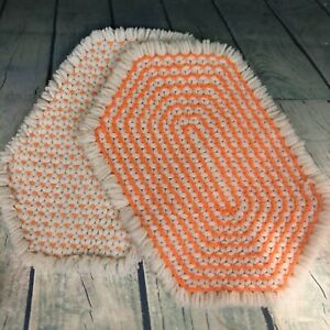 Vintage 1970s Handmade Yarn Placemat Hot Pad Knit Crochet Double Sided Orange