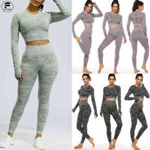 Womens Sports Gym Yoga Sets Running Fitness Leggings Athletic Clothes Bra Pants