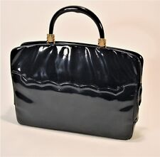 HARRY ROSENFELD Black Patent Leather Large BRIEFCASE BAG Scalloped Pocket EUC