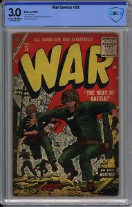 WAR COMICS #33 CBCS 3.0 - VERY RARE GOLDEN AGE ATLAS WAR - 1955