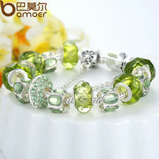 FineEuropean Silver Charms Bracelets With Green Cz Bead DIY For Women Christmas