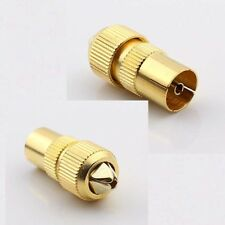 Gold Plated PAL feMale Jack TV Aerial Connector RF Antenna Coax Cable Adapter