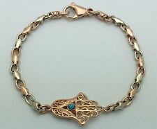 """14k Two Tone Gold Hand of Fatima Hamsa Charm Bracelet with Turquoise 7"""" 10 grams"""