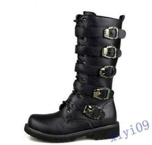 Mens Military Combat Mid Calf Mens Black Punk Rock Boots Buckles Shoes US9.5/44